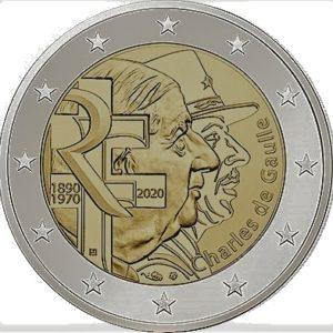 2 euromunt charles de gaulle frankrijk