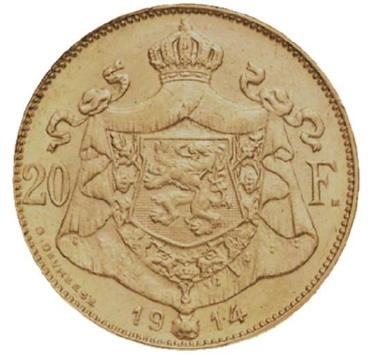 Pièce en or Albert 1er rare de 20 Francs