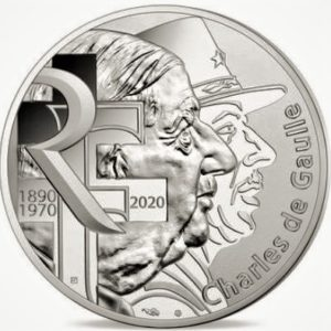 10 euro herdernkingsmunt van Charles de Gaulle