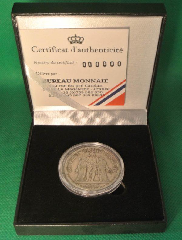 Hercule 5 francs argent boite bureau monnaie