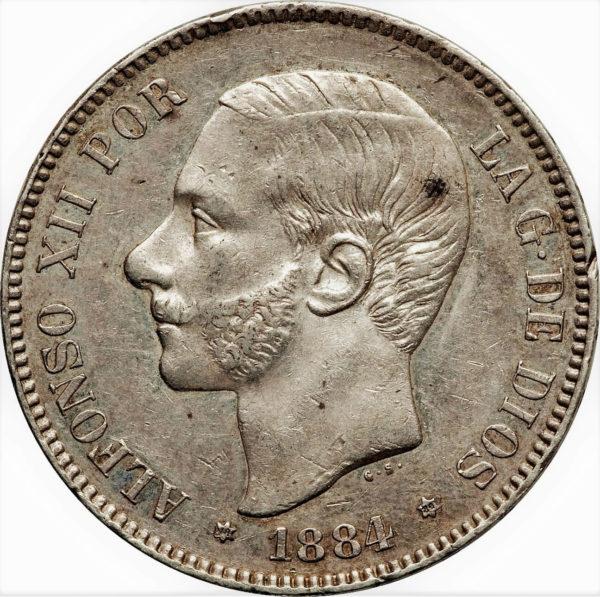 5 pesetas Alfonso XII met bakkebaarden koning van Spanje