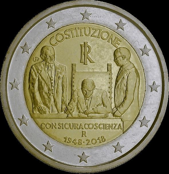 2 euro herdenkingsmunt 70 jaar Italiaanse grondwet - Italië