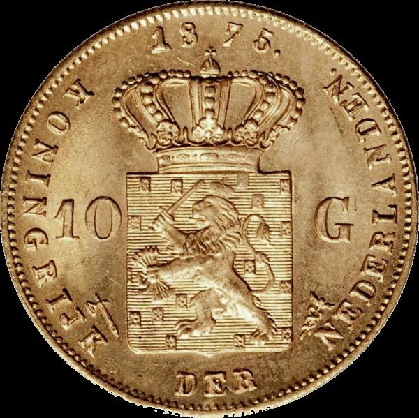 WILLEM III gouden gulden 10